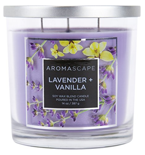 Aromascape 3-Wick Scented Jar Candle, Lavender & Vanilla