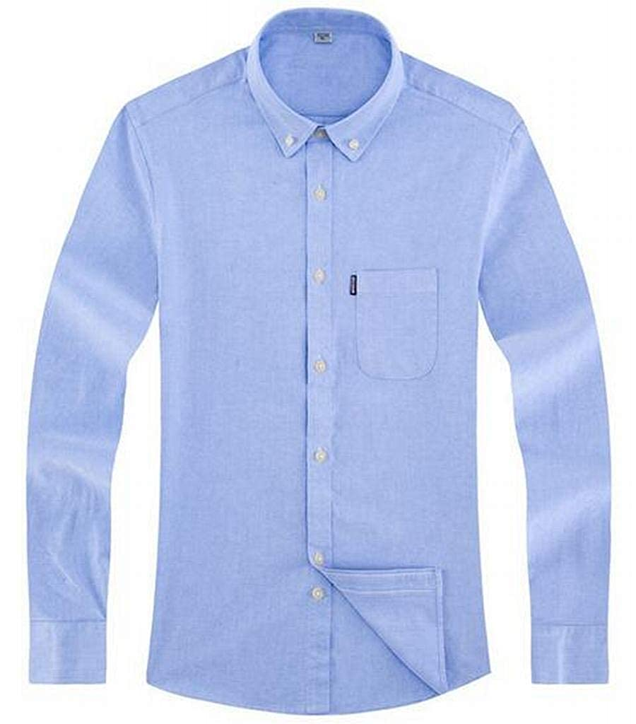 Fubotevic Mens Cotton Casual Business Long Sleeve Slim Fit Solid Color Dress Oxford Shirt