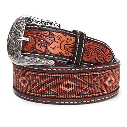 Twisted X Men's Beaded, Leather, Earth-Tone Belt (38) ()