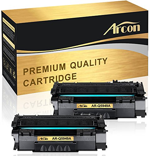 Arcon 2 Pack Compatible HP 49A Q5949A HP 53A Q7553A Toner Cartridge for HP LaserJet P2010 P2014 P2015 P2015d P2015dn P2015n P2015x for HP M2727MFP M2727nf MFP Printer Toner Cartridge (Hp Laserjet P2015dn Printer)