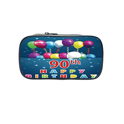 Customizable Pen Bag90th Birthday DecorationsAged Dated Red Stamp With Ninety Years Grunge