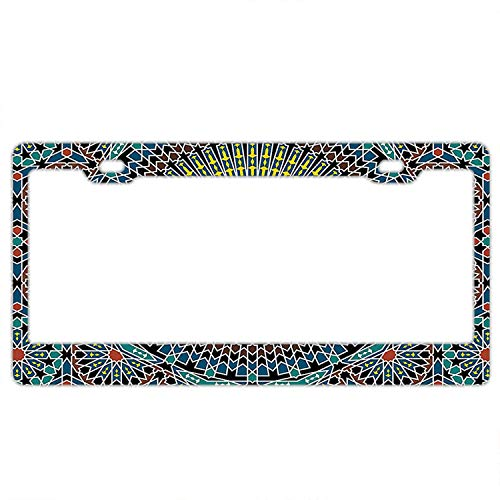 ense Plate Cover with 4 Holes Traditional Middle Eastern Moroccan Arabesque Culture Designed Decorative Metal Car License Plate Auto Tag ()
