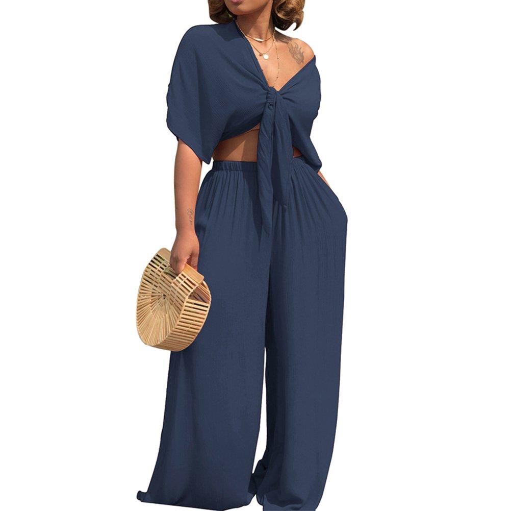 AEL Womens Sexy Tie Crop Top Wide Leg Long Pants 2 Piece Outfits Summer Short Sleeve Jumpsuits Set(Navy,M)