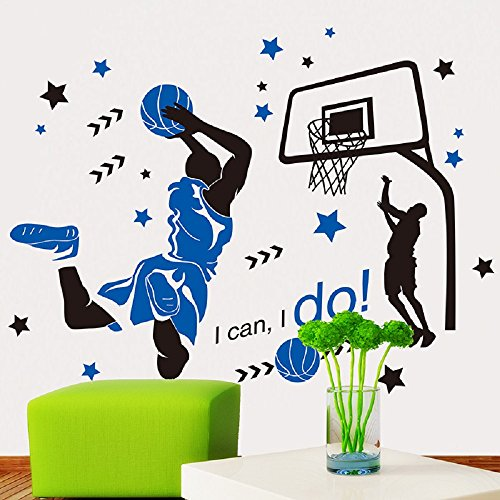 Cheap  Amaonm Creative 3D Basketball Player Dunk Basketball Star Wall Decals Removeable Walls..