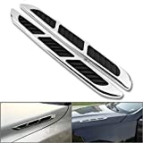 Sugeryy Chrome Car Hood Side Air Intake Flow Vent Fender Black Rubber Sticker Grille Duct Hole Cover Pack of 2