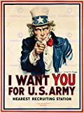 PROPAGANDA WAR WWI USA UNCLE SAM WANT YOU ARMY ICONIC ART PRINT POSTER BB7145B
