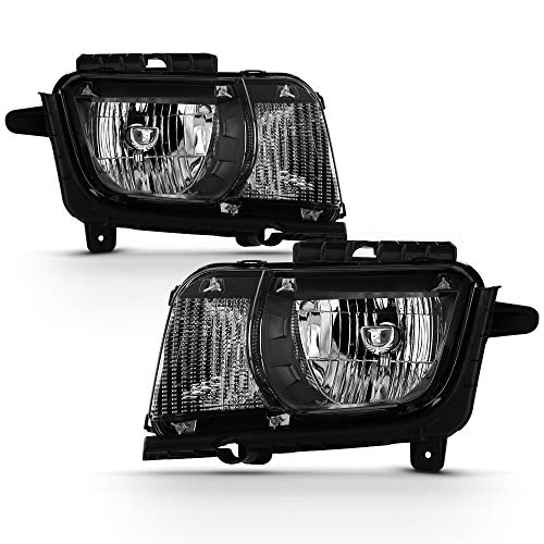 ACANII - For Black 2010 2011 2012 2013 Chevy Camaro Halogen Headlights Headlamps Replacement Driver & Passenger Side