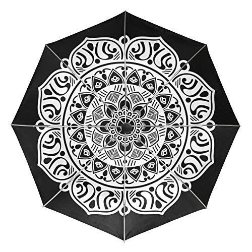 (Mr.Lucien Mandala Indian Style Flowers Auto Umbrella Open Close Windproof Mysterious Magic Totem Vintage Travel Umbrella Lightweight Compact Parasol Umbrellas Sun & Rain 2021271)