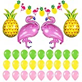 Baring Flamingo and Pineapple Party Decorations - Pack of 32, 1 Flamingo Pineapple Banner, 2 Flamingo Balloons 2 Pineapple Balloons, 27 Latex Balloon | Flamingo Party Supplies
