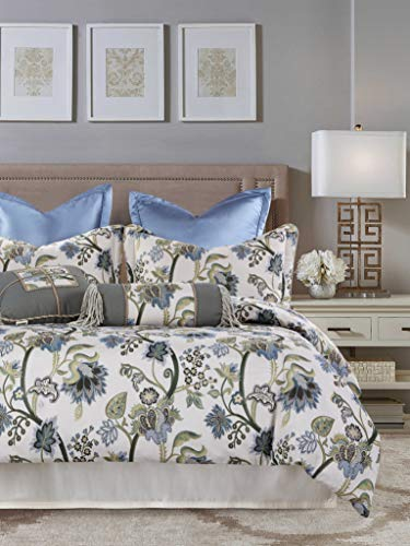 American Century Home Jacquard Legacy Blue 4 Piece Comforter Set, Queen, Green Flora