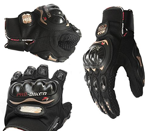Coolsky Black Short Sports Leather Motorcycle Motorbike Summer Gloves (Black, Medium)