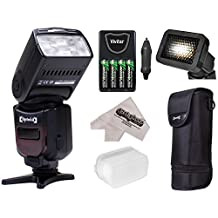 Opteka I-TTL AF Flash (IF-980) with Stand + Pouch + Diffuser + Grid + Batteries for Nikon D4S, DF, D4, D3X, D810, D800, D750, D610, D7200, D7100, D5500, D5300, D5200, D3300, D3200 Digital SLR Cameras