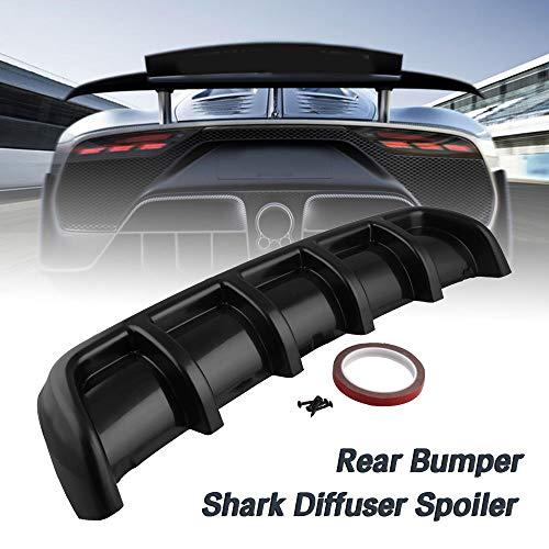 Shark Fin Rear - Ruien Matte Black Universal ABS Rear Shark 6 Fin Curved Bumper Lip Diffuser Kit