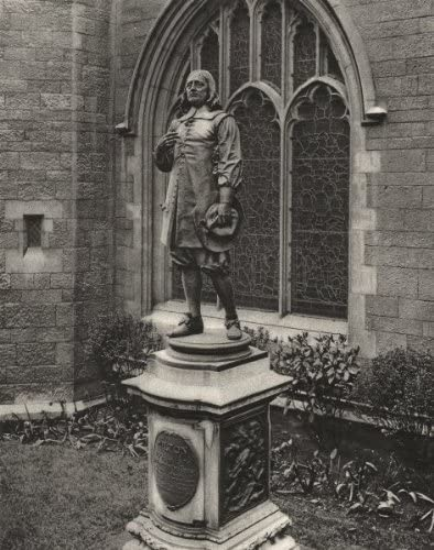 London. Milton's Statue, St Giles Cripplegate - 1926 - Old Print - Antique Print - Vintage Print - Printed Prints of London