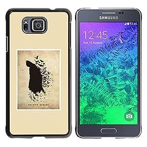 GOODTHINGS Funda Imagen Diseño Carcasa Tapa Trasera Negro Cover Skin Case para Samsung GALAXY ALPHA G850 - murciélago negro héroe volador pintura dibujo del arte