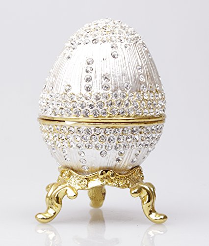 Faberge Egg Figurine Trinket Enameled Box on Gold Stand with Czech Crystals -
