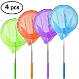 Coopay 4 Pack Telescopic Butterfly Nets Catching Insects Bugs Fishing Nets Great Outdoor Tools for Kids Playing - Extendable from 14.6'' to 33.4'' (Blue Purple Orange Green)