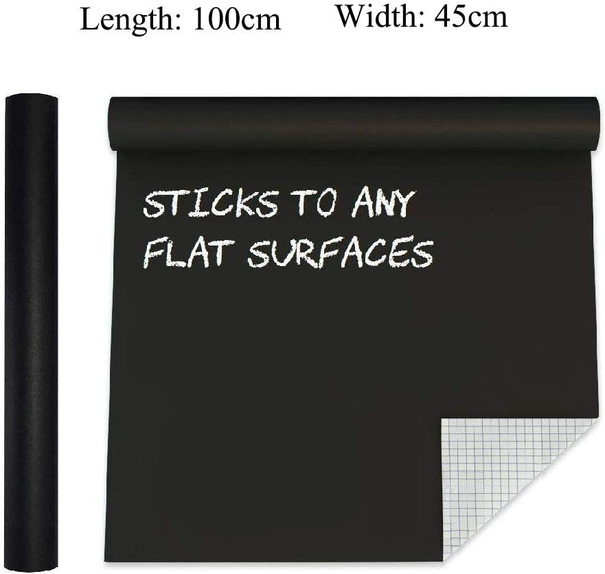 selbstklebende Kreidetafel Papier Vinyl Tapeten Aufkleber Kreide Marker f/ür Zuhause B/üro Schule Black:45x200cm Extra gro/ße Kreidetafel Kontaktpapier