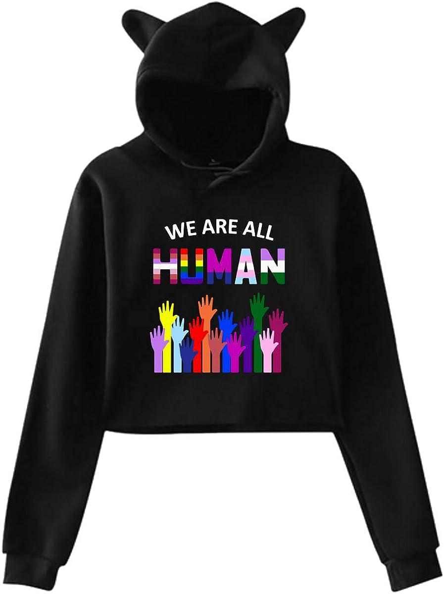 Womens Cute Cat Ear Hoodie Sweatshirts We are All Hunman LGBT Pride Dew-Navel Hooded Crop Tops