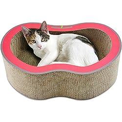 Docamor Wide Corrugate Cat Scratchers- Cat Scratch Lounge Bed-Cat Scratch Board Cat Toy-Apple Design Cardboard Cat Scratching Pad-Cat Scratchboard(Small, Chestnut Red)