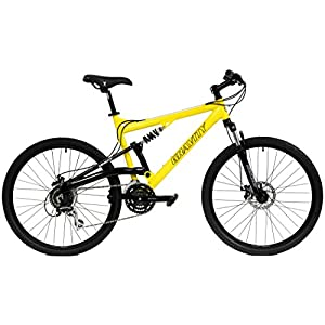 2017 Gravity FSX 1.0 Dual Full Suspension Mountain Bike with Disc Brakes, Shimano Shifting (Yellow, 17in)