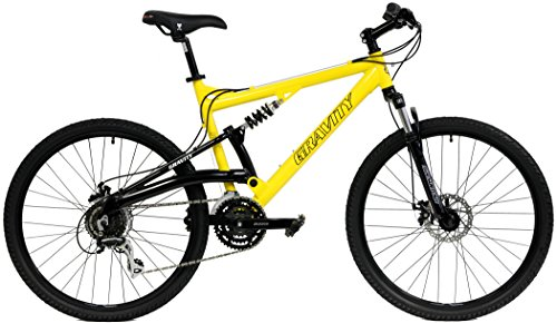2020 Gravity FSX 1.0 Dual Full Suspension Mountain Bike with Disc Brakes, Shimano Shifting, Aluminum Frame (Yellow, 21in) ()