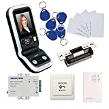 1000 Face Users Facial Entry Access Control System Kits USA Strike Lock 110-240V Power Unit Wired Doorbell Exit Button