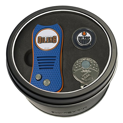 Golf Ball Cap Divot Tool (NHL Edmonton Oilers Tin Gift Set with Switchfix Divot Tool, Cap Clip, and Ball Marker)