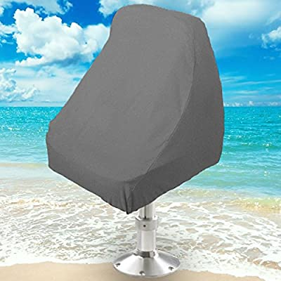"""NEH® Boat Seat Cover Helm / Helmsman / Bucket Single Seat Storage Cover - 21""""L x 24""""W x 24""""H - Gray Heavy Duty Water, Mildew, and UV Resistant Thick Polyester Fabric"""