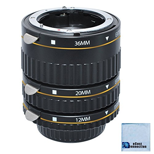 Auto Focus Macro Extension Tube Set for Nikon D5500 D810 D750 D300 D300S D600 D700 D800 D800E D3000 D3100 D3200 D5000 D5100 D5200 D5300 D7000 D7100 DSLR Camera & eCostConnection Microfiber Cloth
