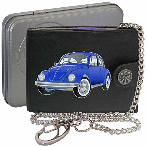 VW Käfer Dunkel Blau Bettle Auto Klassek Herren Geldbörse Geldbeutel Portemonnaie mit Kette Volkswagen Zubehör Geschenk