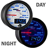 "MaxTow Double Vision 260 F Transmission Temperature Gauge Kit - Includes Electronic Sensor - White Gauge Face - Blue LED Illuminated Dial - Analog & Digital Readouts - for Trucks - 2-1/16"" 52mm"