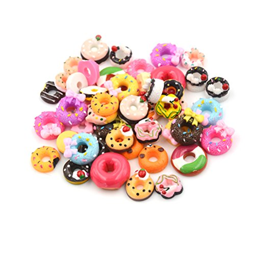 20Pcs Mix Lots Resin Flatback Doughnut Dessert Food Charm Art Album Flat Back Phone Scrapbooking Hair Clip Hairpin Sewing DIY Craft Accessory Jewelry Decoration Dollhouse Ornament ()