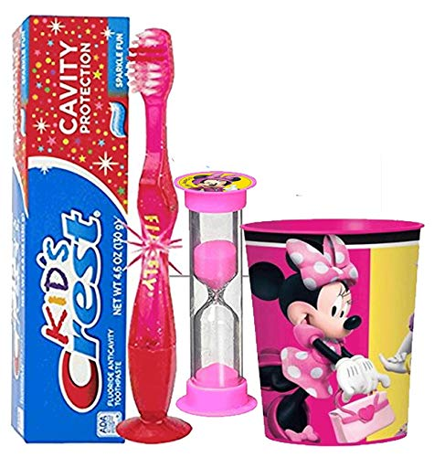 Girl Themed Licensed 4pc Bright Smile Oral Hygiene Bundles! Light Up Toothbrush, Toothpaste, Brushing Timer & Mouthwash Rinse Cup! Plus Dental Gift Bag & Tooth Saver Necklace! ... (Minnie Mouse)