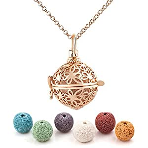 Third Time Charm Natural Lava Rock Stone Butterfly Locket Necklace for Essential Oil Diffuser Aromatherapy Jewelry with 6 Lava Beads (Gold Plated)