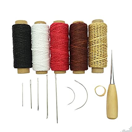 Yalulu 14Pcs Leather Working Tools, Durable 50 Meter 1mm 150D Leather Waxed Thread Cotton Cord String Needles Drilling for DIY Handicraft Tool Hand Stitching Thread (#2) 4336935498