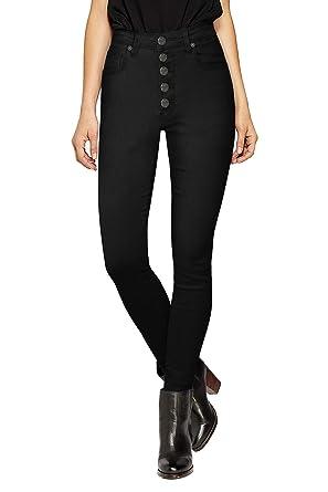 d9c3ca42b76 HyBrid   Company Womens Super Stretch 5 Button Hi-Waist Skinny Jeans  BlackTwill 1
