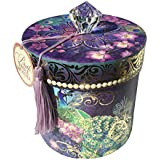 Pooch & Sweetheart Boudoir Toilet Tissue Holder Decorative Storage Box with Tassel, Purple Orchid Peacock