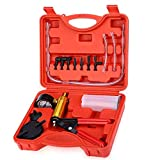 2 in 1 Brake Bleeder Kit & Handheld Vacuum Pump Tester Set for Automotive Tuner Tools with Sponge Protected Case, Adapters, One-Man Brake and Clutch Bleeding System