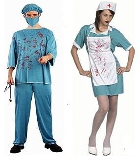 60ca692e56ac7 Adult Halloween Doctor Death Bloody Surgeon Scrubs Fancy Dress Up Costume