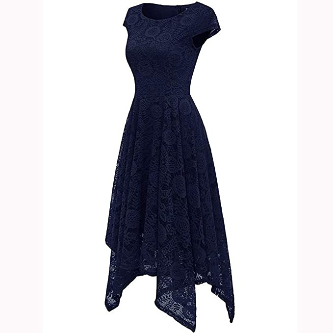 c46a4c705c ZODOF Vestido Corto Fiesta Elegante Las Mujeres del Cuello del Color del  cordón del o-
