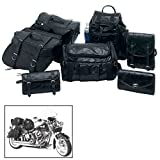 Genuine Buffalo Leather 7-Piece Motorcycle Saddlebag Luggage Set