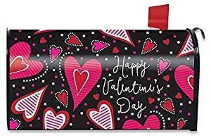 Dancing Hearts Valentine's Day Large Mailbox Cover Primitive Oversized Magnetic Mail Box Wrap Yard Garden Decor 17.25 x 20.75 Inches