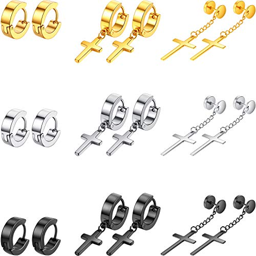 (9 Pairs Stainless Steel Cross Earrings Vintage Hoop Huggie Earrings Cross Dangle Hinged Stud Earrings Set for Men and Women )