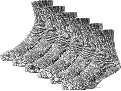 (FUN TOES Merino Wool Ankle Socks Pack of 6 Arch Support and Cushioning Heel to Toe Reinforcement Ideal for Hiking (Gray, Women 9-11))