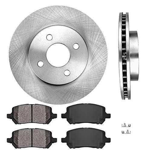 [ Rear Drum Brakes Model ] FRONT 256 mm Premium OE 4 Lug [2] Brake Disc Rotors + [4] Metallic Brake Pads