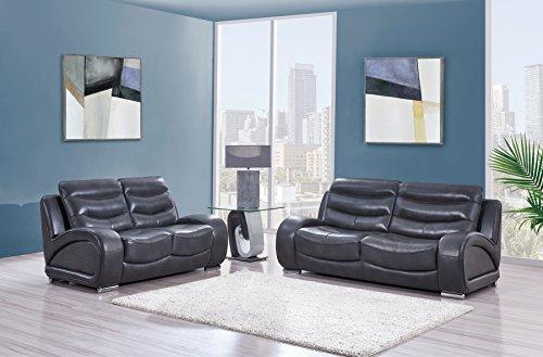 (Global Furniture USA U8340-BLANCHE Lividity-S Global Furniture Sofa/Loveseat, Charcoal Grey)