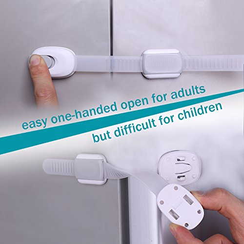 Child safety locks 10 pack baby proofing latches for cabinet refrigerator door toilet seat for Child safe bathroom door locks