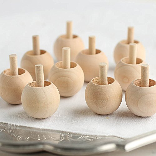 Package of 10 UNFINISHED WOOD SPINNING TOPS from Factory Direct Craft - Natural Toys made in USA by Factory Direct Craft (Image #2)