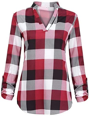 AOKASII Womens Tops and Blouses, Womens Summer Plaid Shirt Casual Sleeve T-Shirts Blouse Outwear Sport Shirt
